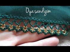 This post was discovered by HU Embroidery On Clothes, Beaded Embroidery, Hand Embroidery, Crochet Borders, Crochet Stitches, Saree Kuchu Designs, Flower Hair Band, Dress Neck Designs, Knit Shoes