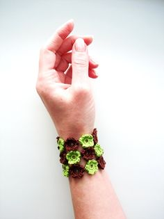 Crochet Bracelet, Crochet Flowers, Spring Green Chocolate Brown. $15.00, via Etsy.