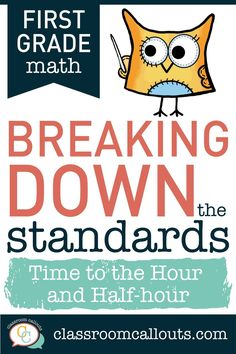 Is your first grader learning to tell time? Would you like to understand the standards better? Check out this post that cover so many necessary objectives for teaching time to the hour and half hour. Each post covers: The Standard, Vertical Alignment, Mini Lesson, Small Group ideas, Learning Centers, Practice and alway, THE FUN! There is something here for every 1st grade teacher. This post has 6 exclusive freebies! Check it out. 1st Grade Math Games, First Grade Math, Teaching Time, Teaching Math, Cool Science Facts, Learn To Tell Time, Time To The Hour, Classroom Routines, Thing 1