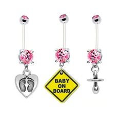 3Pack Feet on Heart Baby On Board and Pacifier Pink by BodyBitscom