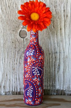 Hand Painted Wine bottle Vase Up Cycled Purple White door LucentJane
