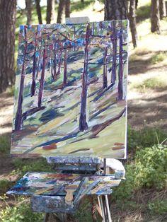 Pintando en el exterior. Bandama, Canarias.  Apunte, óleo sobre lienzo. Outdoor Blanket, Oil On Canvas, Identity, Canvases, Shapes, Art