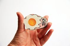 brooch illustrated fried egg wooden by treeillustration on Etsy