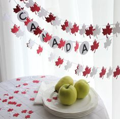 Canada Day Red and White Maple Leaf Party Pack by GFetti on Etsy And July, Fourth Of July, White Party Foods, White Garland, Leaf Garland, Canada For Kids, Canada Day Crafts, Canada Day Party, Leaf Cutout
