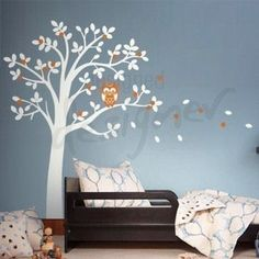 Hooting Owl on Woodland Tree Wall Sticker Mural - Wall Sticker Outlet