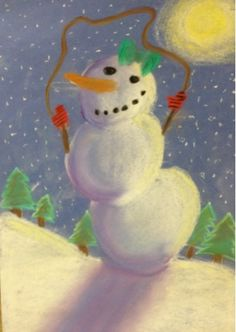 SJS Art Studio: Snowman at Night