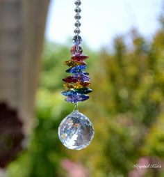 "16"" Swarovski Crystal Double Rainbow Crystal Ball Suncatcher 