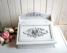 Your place to buy and sell all things handmade Shabby Chic Letters, Shabby Chic Boxes, French Cottage Decor, Shabby Chic Cottage, Rustic Vintage Decor, Mail Holder, Letter Holder, Rustic White, White Decor