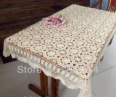 Vintage Handmade Table Cloths Rectangular Crochet Tablecloth White Home  Wedding
