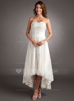 A-Line/Princess Sweetheart Asymmetrical Tulle Wedding Dress With Lace Beading (002011546) - JJsHouse