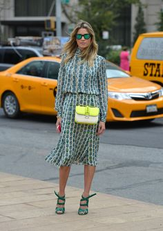 Make a vintage dress look new by pairing with modern accessories On the streets of New York