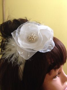Fancy Headband ..first comuninon, weddding with pearls feathers . by 3BusyBirds on Etsy