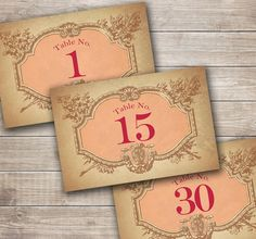 Vintage French Wedding Table Numbers for your Reception