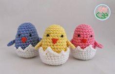 2000 Free Amigurumi Patterns: Free Crochet Pattern: Amigurumi Hatching Easter Chicks