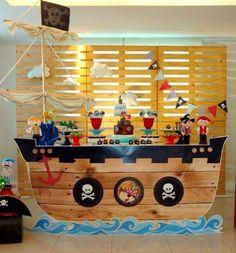Decoração de Festa Infantil de Piratas Pirate Party Decorations, Pirate Decor, Pirate Theme, Party Themes, Theme Ideas, Birthday Cake Kids Boys, Pirate Birthday, 4th Birthday, Cake Birthday