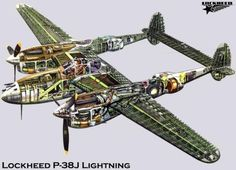 A Lockheed Lightning cutaway Ww2 Aircraft, Fighter Aircraft, Military Aircraft, Military Weapons, Lockheed P 38 Lightning, Air Festival, Ww2 Planes, Aircraft Design, Norman Rockwell