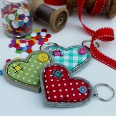 Wide Heart Fabric Key Ring by Honeypips, the perfect gift for Explore more unique gifts in our curated marketplace. Freehand Machine Embroidery, Free Machine Embroidery, Fabric Birds, Fabric Scraps, Sewing Crafts, Sewing Projects, Accessoires Divers, Heart Keyring, Fabric Hearts