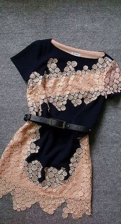 Dark Blue Slim Embroidered Irregular Dress