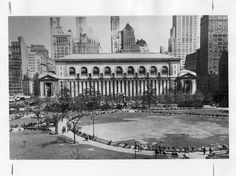 Vintage 1930, Overhead view of the park facing the back of the New York Public Library and showing the original location of the Josephine Shaw Lowell fountain, on the east side of the park. After the 1934 reconstruction the fountain was moved to its present location across the park at 41st Street and 6th Avenue, NYC, www.RevWill.com