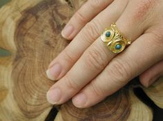 Vintage gold owl ring with turqoise eyes @Amy Head
