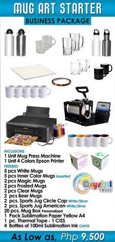 MUG ART STARTER BUSINESS PACKAGE Php. 9,500  Inclusions  1 Unit Mug Press…