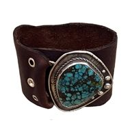 Love Tokens Jewelry Turquoise Leather Cuff Bracelet