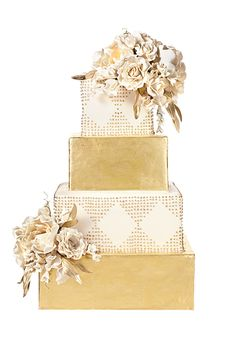 A White Cake by Lauren Bohl White, New York, NY. Glamour rules at the ballroom affair that features this gold-dusted wedding cake, with its gilded leaves and royal icing. Glamorous Wedding Cakes, Creative Wedding Cakes, Cool Wedding Cakes, Beautiful Wedding Cakes, Beautiful Cakes, Amazing Cakes, Elegant Wedding, Square Wedding Cakes, Wedding Cakes With Flowers
