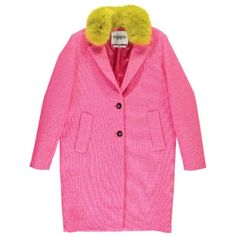 Essentiel Primo Coat - Jelly Pink (£371) ❤ liked on Polyvore featuring outerwear, coats, jelly pink, single-breasted trench coats, faux fur collar coats, slim fit coat, pink coats and long sleeve coat