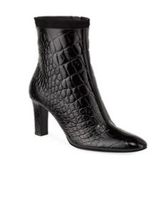 Black leather croc-effect ankle boots from Giuseppe Zanotti featuring an embossed crocodile effect, a two tone design, a pointed toe, a side zip fastening and a high heel. Black High Heels, Black Ankle Boots, Shoe Boutique, Luxury Shoes, Crocodile, Giuseppe Zanotti, Crocs, Kitten Heels, Black Leather