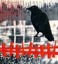 idea  = print on glass between clear then stringers, noodles in contrast color. Art - The Crow Knows by Arlene Blackburn