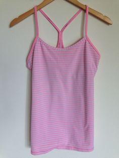 Lululemon Power Y Tank Pink White Stripe Size 10 #Lululemon #SportsBrasBraTops
