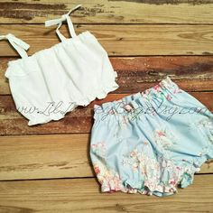 White Crop Top and Blue Floral Shorties Baby by LilLaineyBug