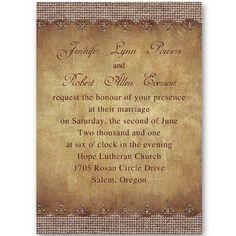 Hot Vintage Burlap Autumn Wedding Invitations IWI266