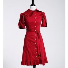 Shabby Apple Red Button Up Dress