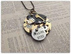 Steampunk halsketting gemaakt met oude onderdelen van Het Huis van Makers op DaWanda.com