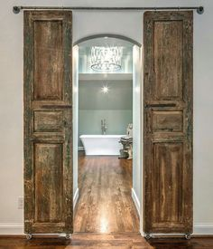 I love the old doors on a modern look