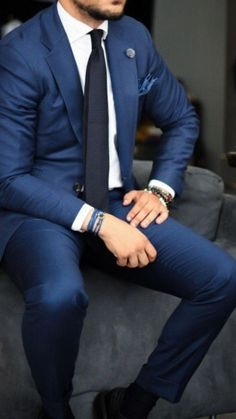 Stylish Mens Fashion, Mens Fashion Suits, Mens Suits, Cheap Fashion, Blue Suit Men, Navy Blue Suit, Blue Suits, Moda Formal, Herren Outfit