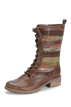 """Avery Short Flat Boot in mocha by Sofft $190 - $114 @HauteLook. - Almond cap toe - Curved vamp - Contrast stitching - Contrast knit construction - Lace-up front - Inside zip closure - Back pull-on tab - Stacked wooden heel  - Approx. 1.5"""" heel - Leather and fabric upper (tribal knit), rubber sole"""