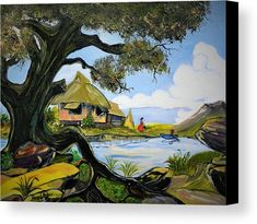 By the River Canvas Print by Anna Baker. All canvas prints are professionally printed, assembled, and shipped within 3 - 4 business days and delivered ready-to-hang on your wall. Choose from multiple print sizes, border colors, and canvas materials. Bahay Kubo, Philippine Art, Canvas Art, Canvas Prints, Got Print, Canvas Material, Art Paintings, Fine Art America, Museum