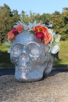 Lifesize Glitter Sugar Skull Home Decor by SugarShoppeofHorrors
