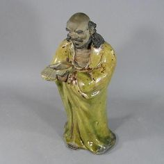 Large 19th c. Chinese Shiwan Pottery Figure of Buddhist Monk Bodhidharma
