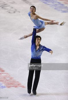 Jian Tong Photos - Qing Pang & Jian Tong of China skate in the pairs free skate during the Skate America competition at the ShoWare Center on October 2012 in Kent, Washington. Ice Skating Pictures, World Figure Skating Championships, Ice Dance, Dance Costumes, Kent Washington, Skate, Sporty, Pairs, October 20