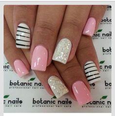 Nails, nail art, nail design, pink, black, white, sparkly