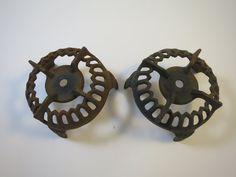 2 Cast Iron Gas Stove Grates Round Iron by BonniesVintageAttic