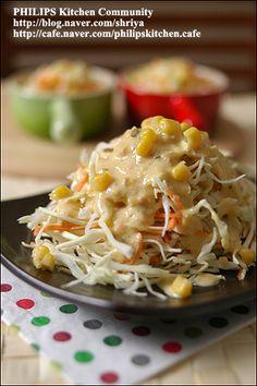 """양배추를 가장 맛있게 먹는 방법~땅콩 소스를 뿌린 """"양배추샐러드""""~ Authentic Korean Food, Kids Dishes, Vegetarian Recipes, Cooking Recipes, K Food, Korean Dishes, Asian Recipes, Ethnic Recipes, Appetizer Salads"""
