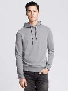 Micro-Stripe Double-Knit Hoodie