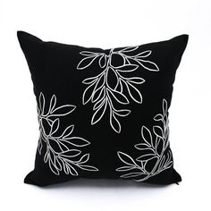 Leaf Pillow Cover Floral Pillow Case Black Linen Off by KainKain