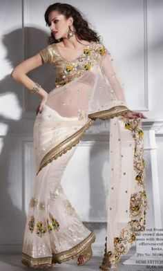 Our HOT SHOT best selling white saree!