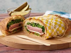 Brick-Pressed Sandwiches, Step by Step : These massive loaf-sized sandwiches are perfect to bring along to a picnic or cookout, and they are enough to feed any hungry crowd. Pressing them under a brick for several hours brings the flavors together and helps you cram more of your favorite ingredients into each bite.