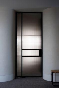 Interior Design For Bathroom Interior Door, Home Interior Design, Interior Architecture, Copper House, Reeded Glass, Partition Design, Bathroom Doors, Steel Doors, Internal Doors
